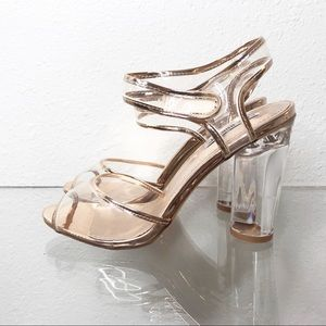 Cape Robbin Clear Acrylic Perspex Rose Gold Heels